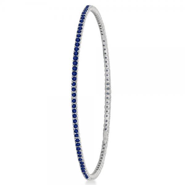 Stackable Blue Sapphire Bangle Eternity Bracelet 14k White Gold 2.60ct