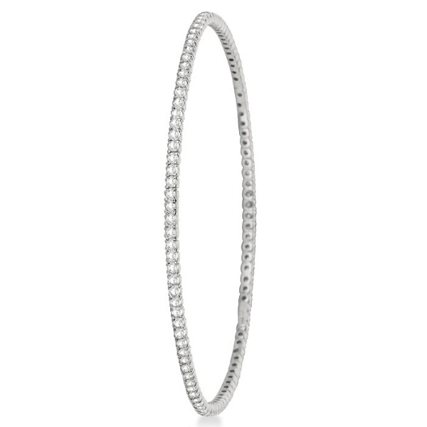 Stackable Diamond Bangle Eternity Bracelet 14k White Gold (2.60ct)