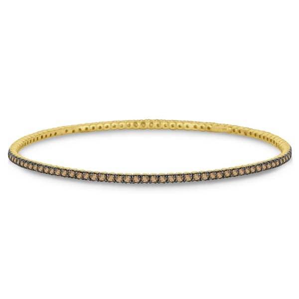 Champagne Diamond Eternity Bangle Bracelet 14k Yellow Gold (2.60ct)