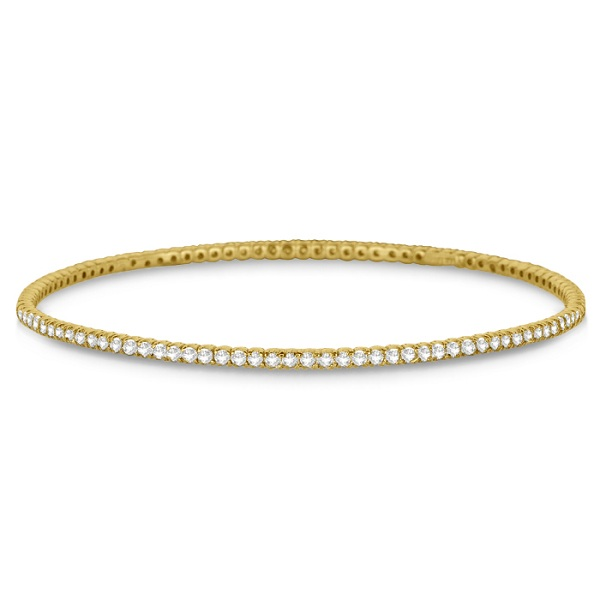 Stackable Diamond Bangle Eternity Bracelet 14k Yellow Gold (2.60ct)
