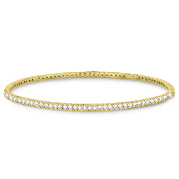 Stackable Diamond Bangle Eternity Bracelet 14k Yellow Gold (3.00ct)