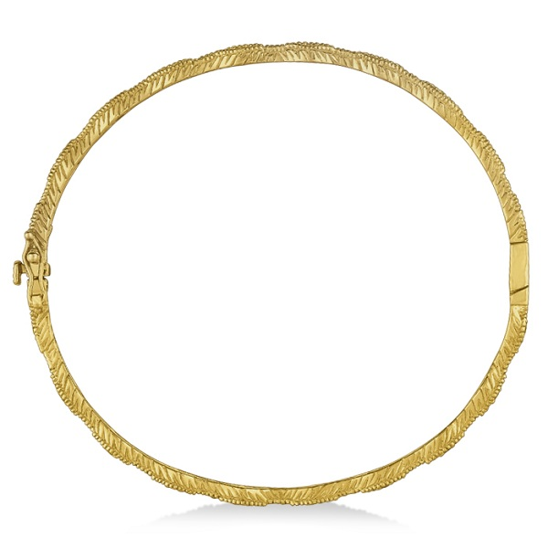Vintage Milgrain Diamond Bangle Stack Bracelet 14k Yellow Gold (0.50ct)