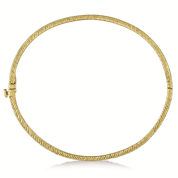 Milgrain Edged Diamond Bangle Bracelet 14k Yellow Gold (0.75ct)