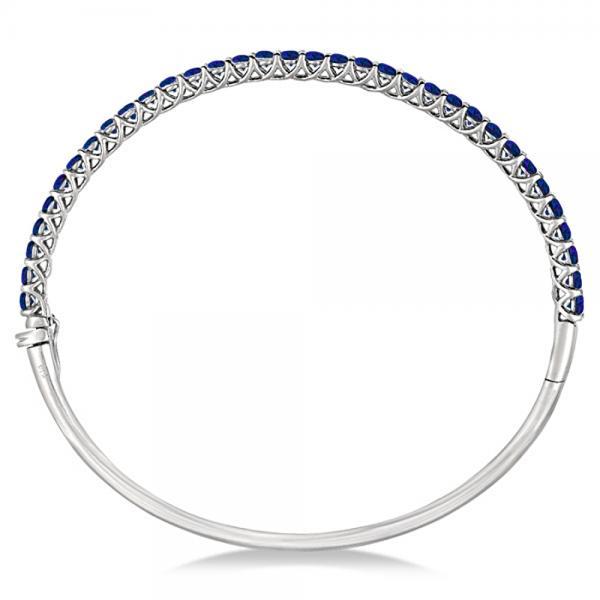 Luxury Stackable Blue Sapphire Bangle Bracelet 14k White Gold (4.00ct)