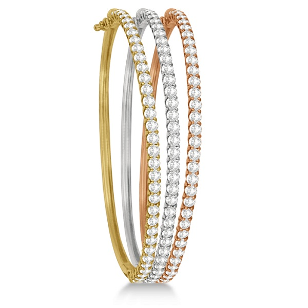 Luxury Stackable Diamond Bangle Bracelet 14k Rose Gold (4.00ct)