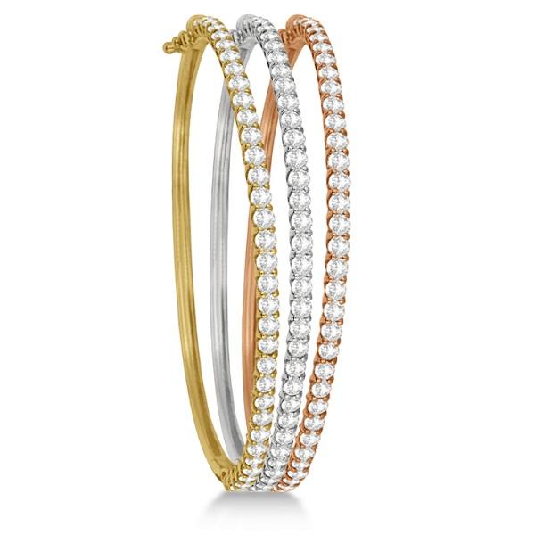 Luxury Stackable Diamond Bangle Bracelet 14k White Gold (4.00ct)