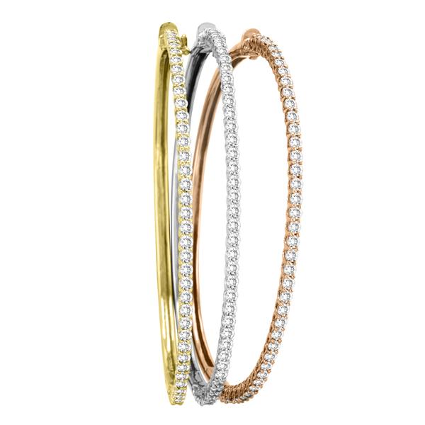 Luxury Stackable Diamond Bangle Bracelet 14k Rose Gold (2.03ct)