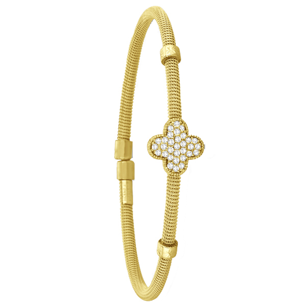 Diamond Clover Bangle Cable Bracelet 14K Yellow Gold (0.37ct)