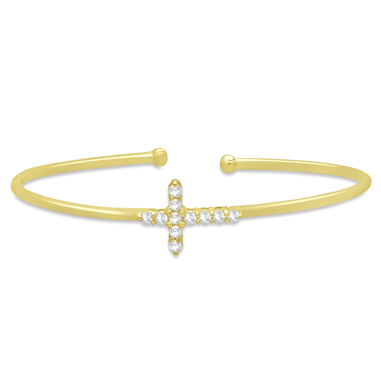 Diamond Cross Bangle Bracelet 14k Yellow Gold (0.54ct)