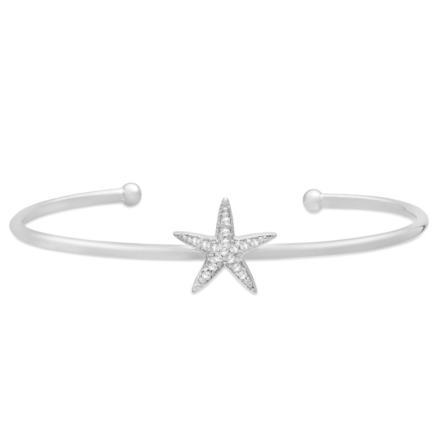 Diamond Starfish Bangle Bracelet 14k White Gold (0.15ct)