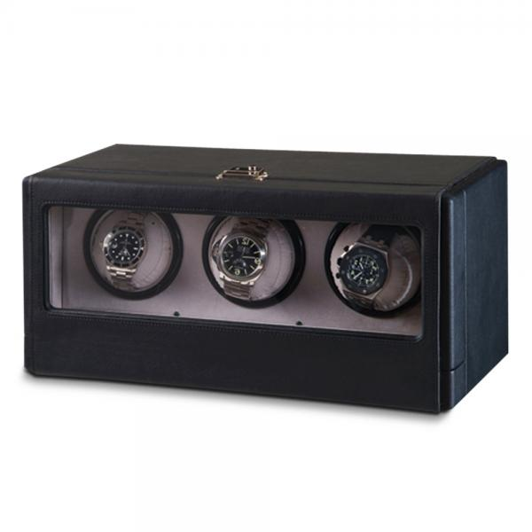 Unisex Black Faux Leather Suede Lining Three Turnable Watch Winder