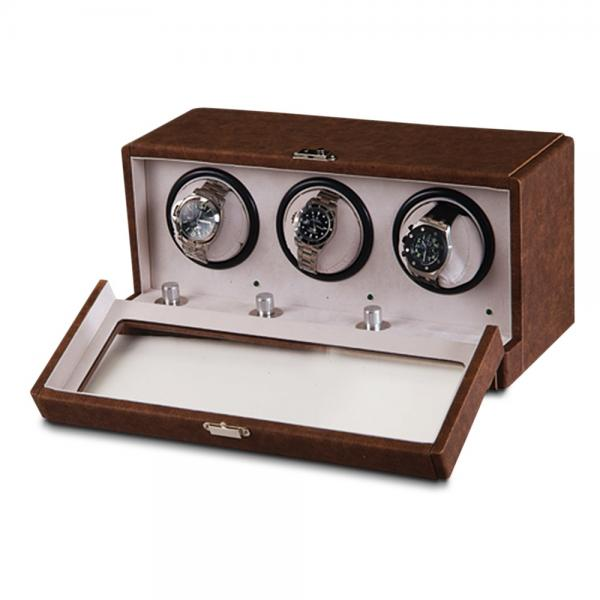 Unisex Brown Faux Leather Suede Lining Three Turnable Watch Winder