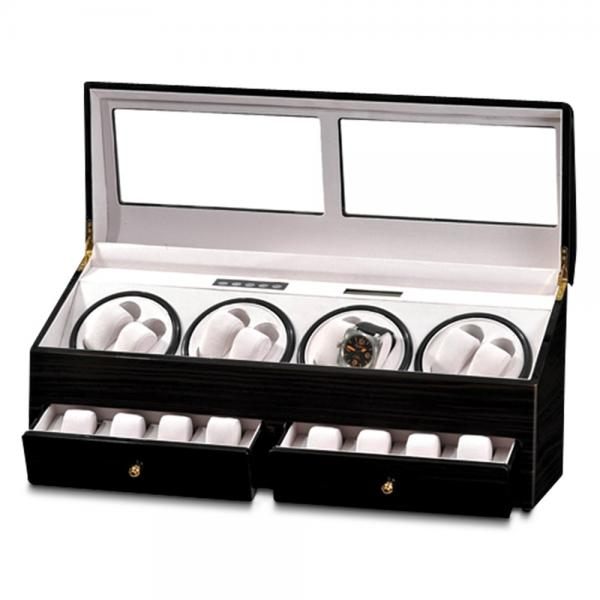 Unisex Black Gloss Finish Watch Winder for Eight Watches with Drawers