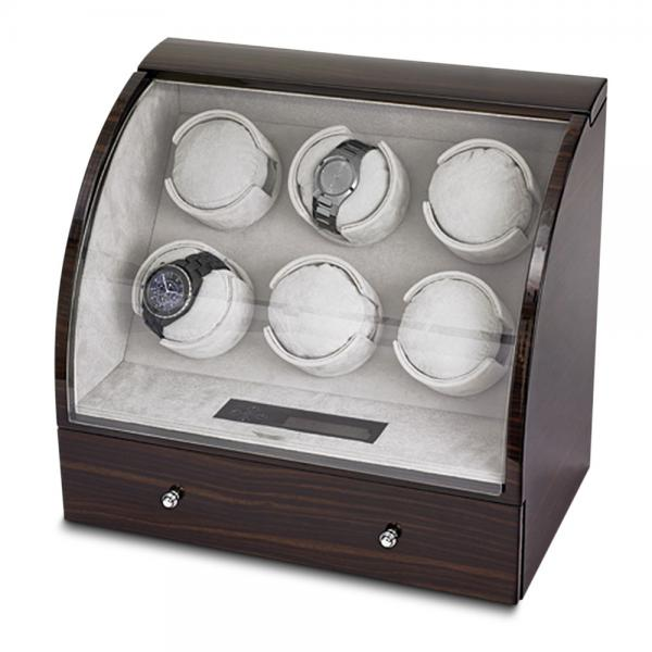 Unisex Ebony High Gloss Finish Six Turntable Watch Winder with Drawer