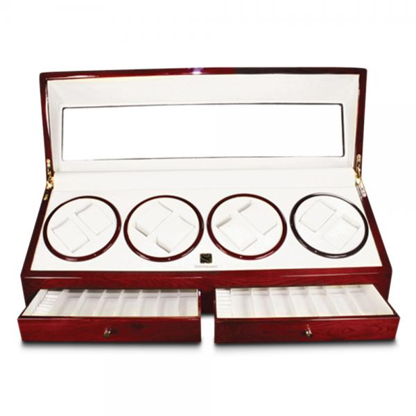 Women's Gloss Cherrywood Ring Rolls Faux Leather Lining Watch Winder