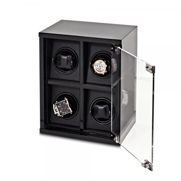 Men's Black High Gloss Carbon Fiber Faux Leather Lining Watch Winder