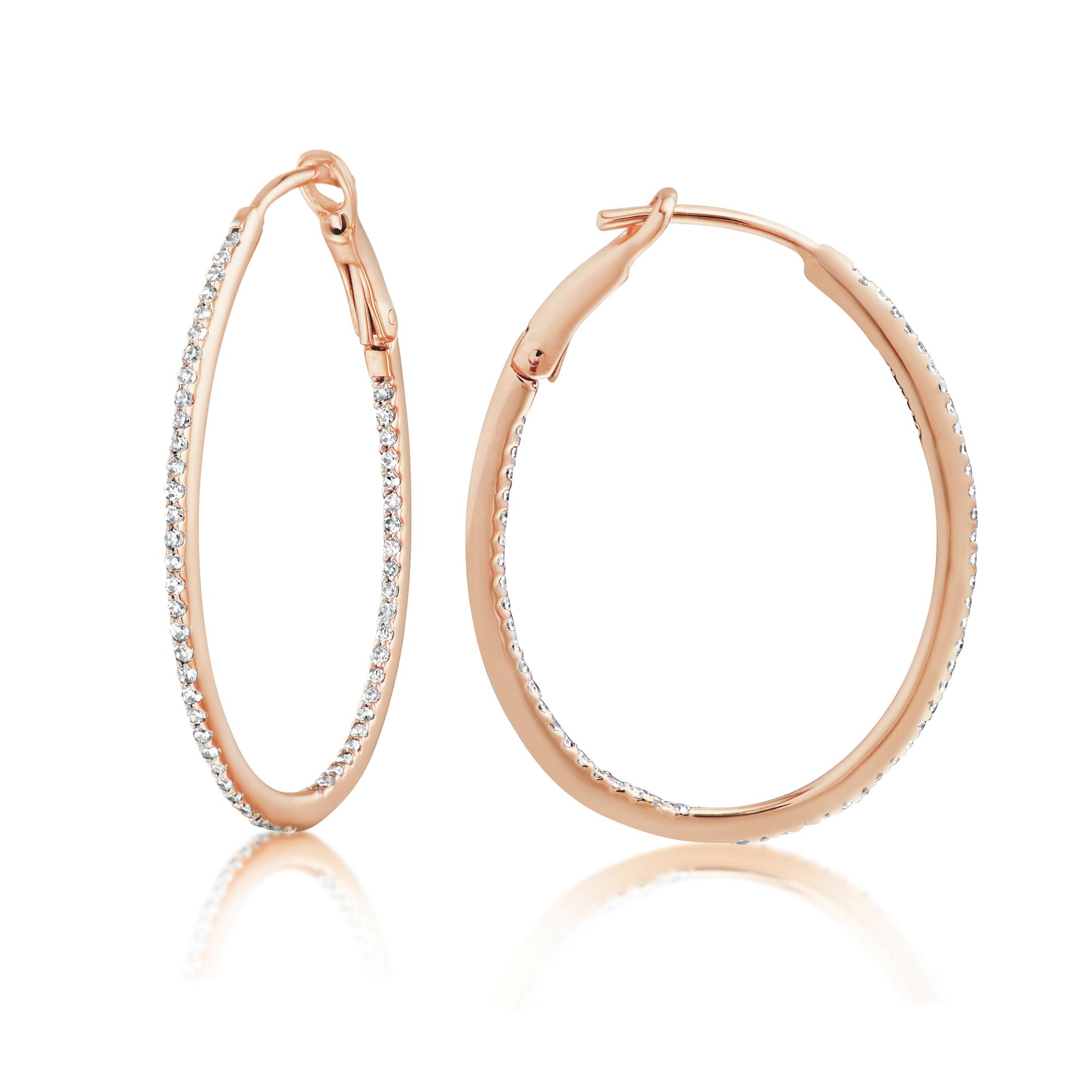 Diamond 28mm Oval Skinny Hoop Earrings 14K Rose Gold (0.34CT)