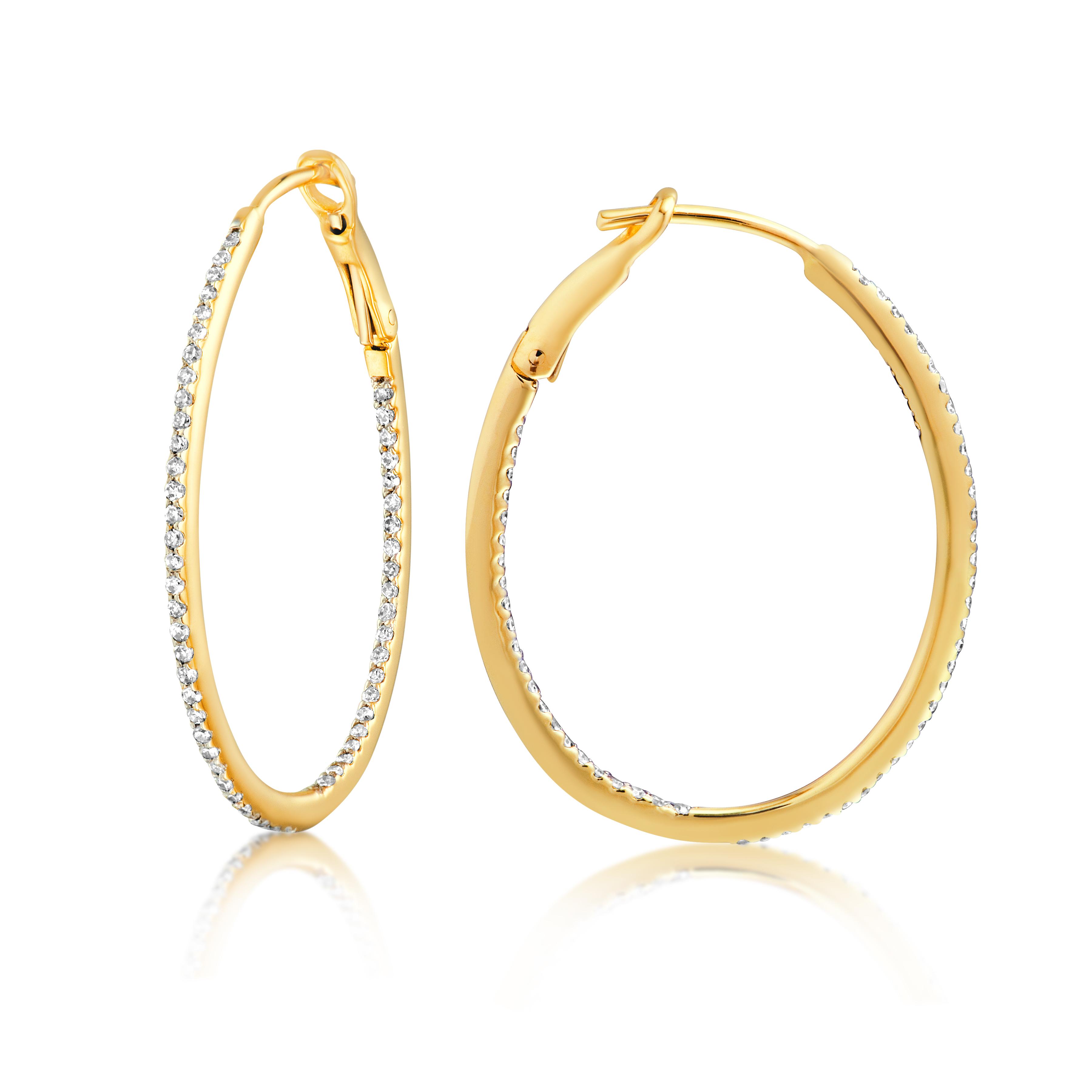 Diamond 28mm Oval Skinny Hoop Earrings 14K Yellow Gold (0.34CT)