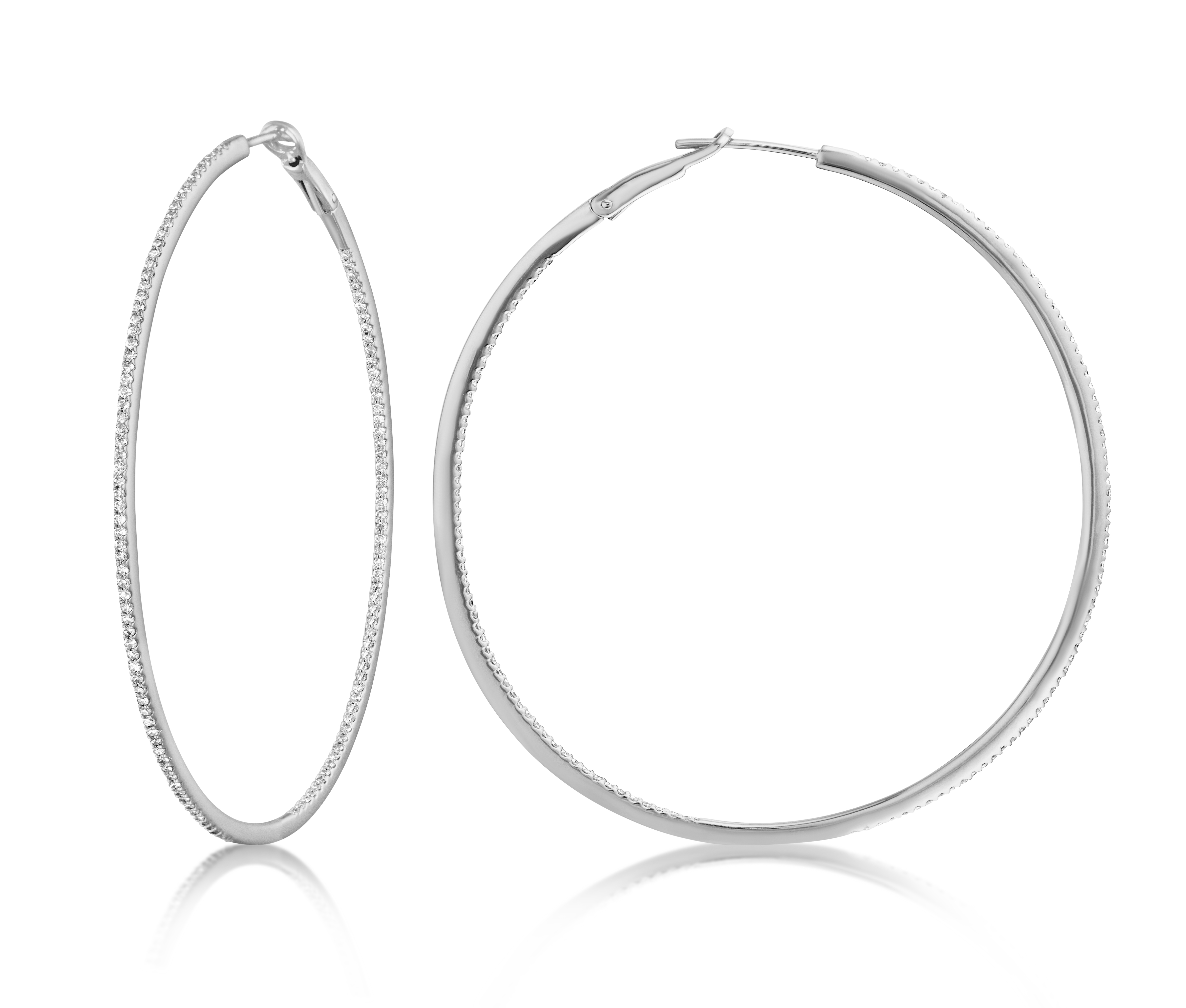 Diamond 53mm Round Skinny Hoop Earrings 14K White Gold (0.60CT)
