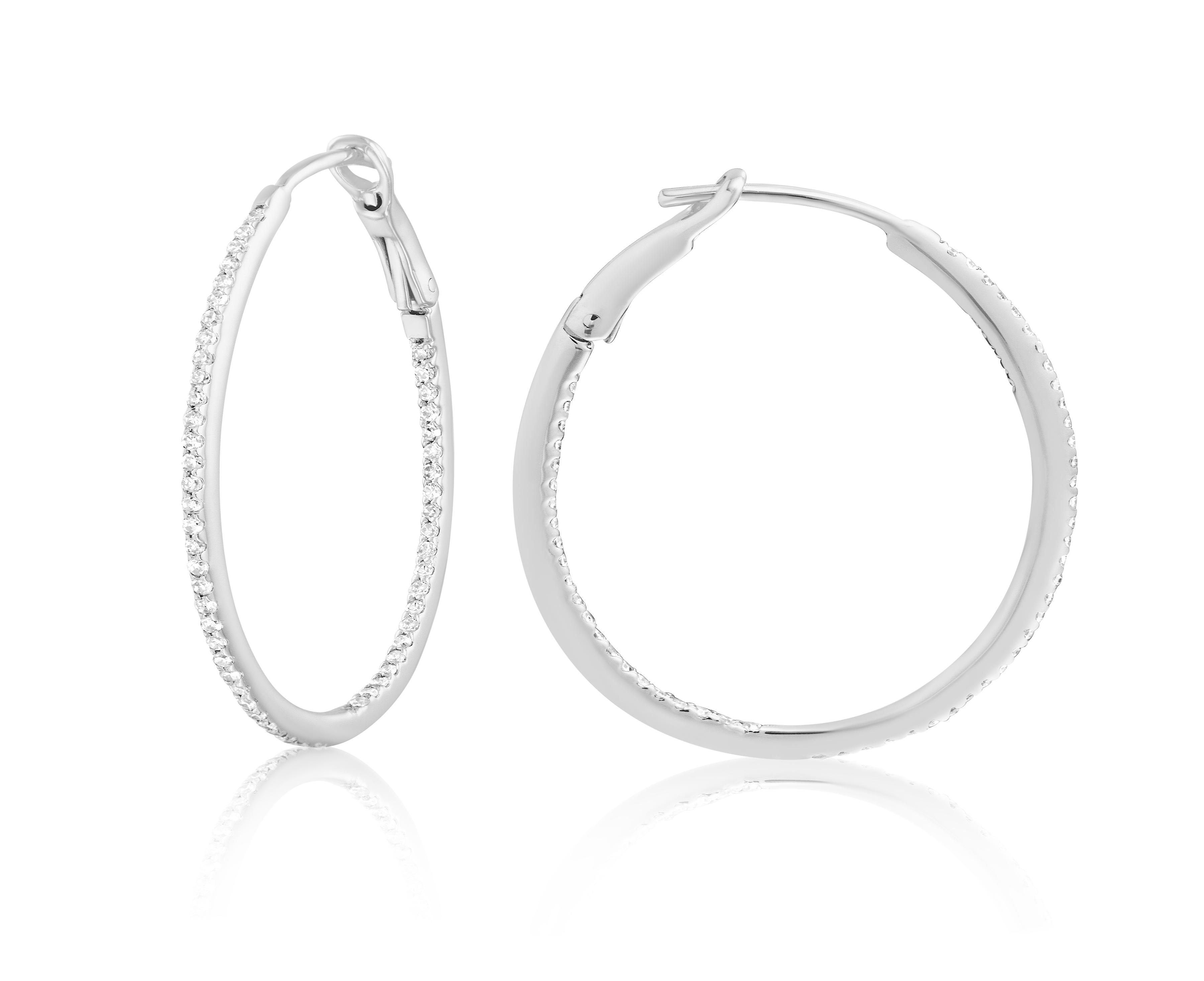 Diamond 30mm Round Skinny Hoop Earrings 14K White Gold (0.26CT)
