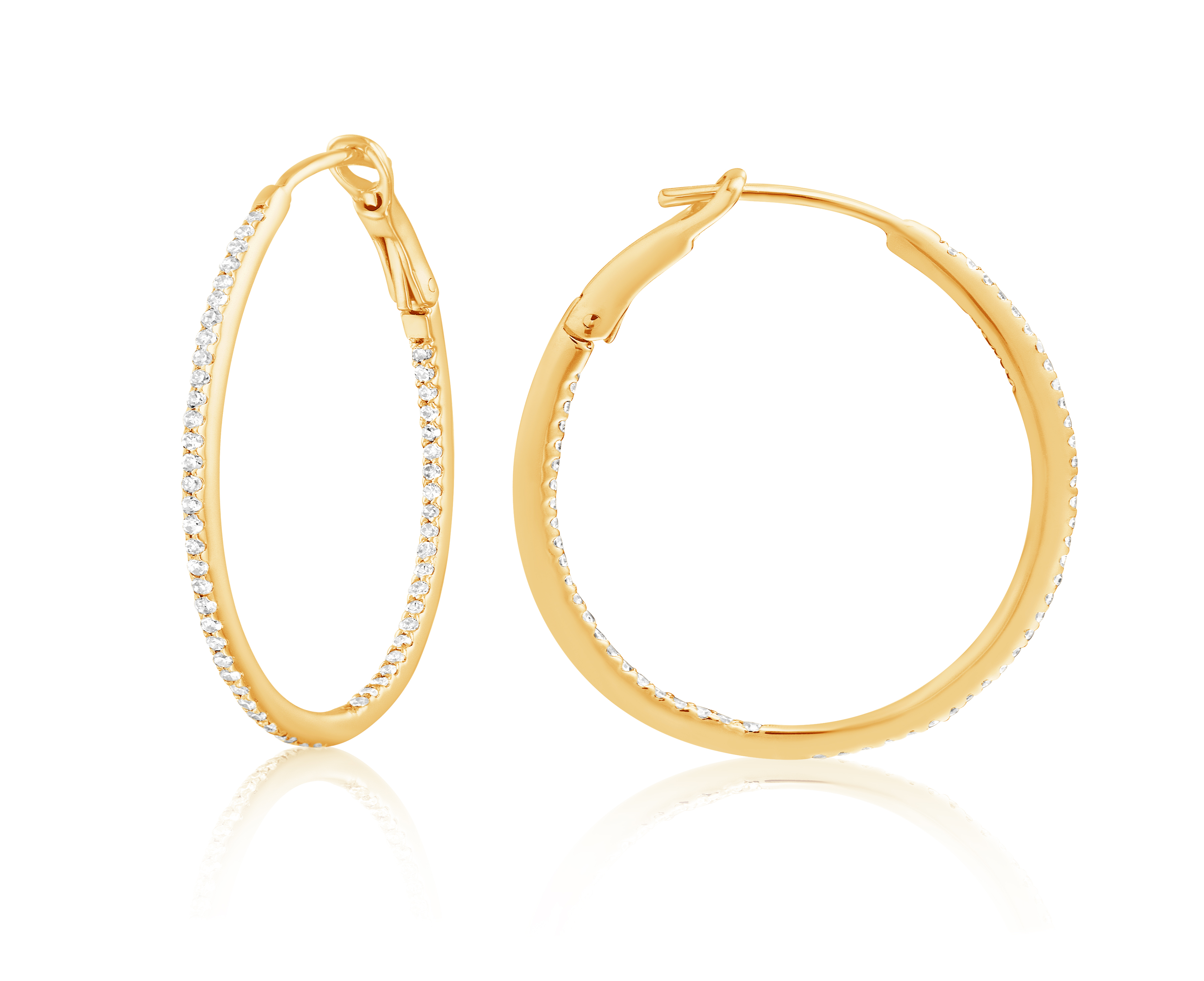 Diamond 30mm Round Skinny Hoop Earrings 14K Yellow Gold (0.26CT)