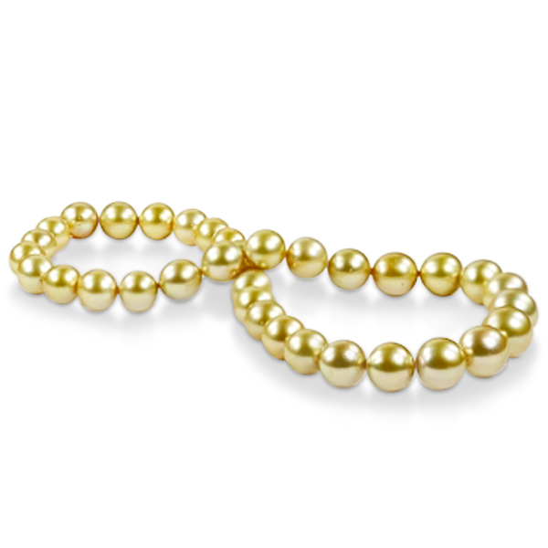 Golden South Sea Pearls Strand Necklace 14k Yellow Gold 10-13mm