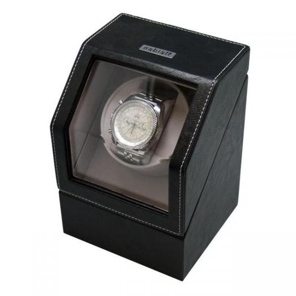 Black Leather Battery Powered Single Automatic Watch Winder Box