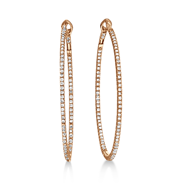 Hidalgo Micro Pave Diamond Hoop Earrings 18k Rose Gold (1.58 ct)