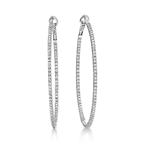 Hidalgo Micro Pave Diamond Hoop Earrings 18k White Gold (1.58 ct)