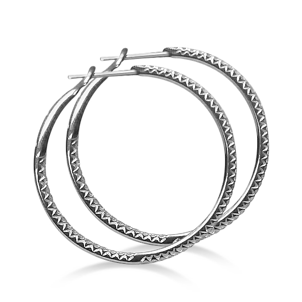 Hidalgo Micro Pave Diamond Hoop Earrings 18k White Gold (1.19 ct)
