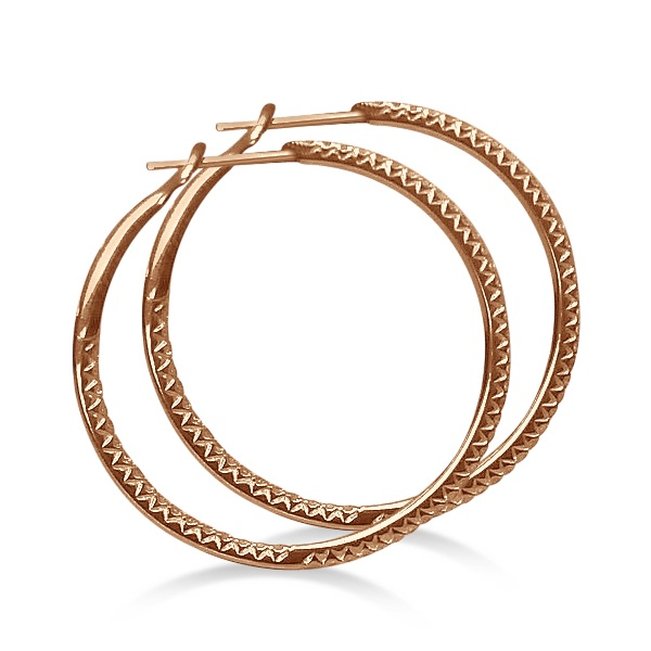 Hidalgo Micro Pave Diamond Hoop Earrings 18k Rose Gold (0.94ct)
