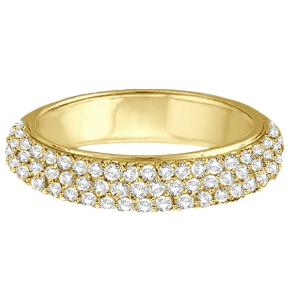 Hidalgo Micro Pave Three Rows Diamond Ring 18k Yellow Gold (0.76ct)