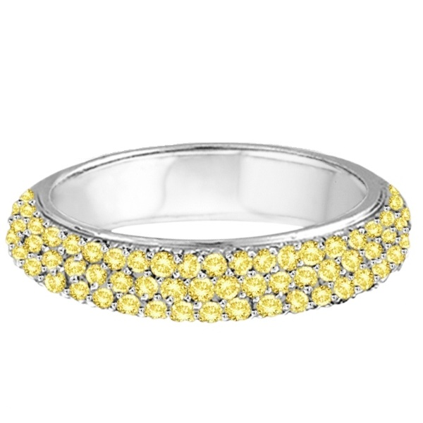 Hidalgo Micro Pave 3 Rows Yellow Diamond Ring 18k White Gold (0.77ct)