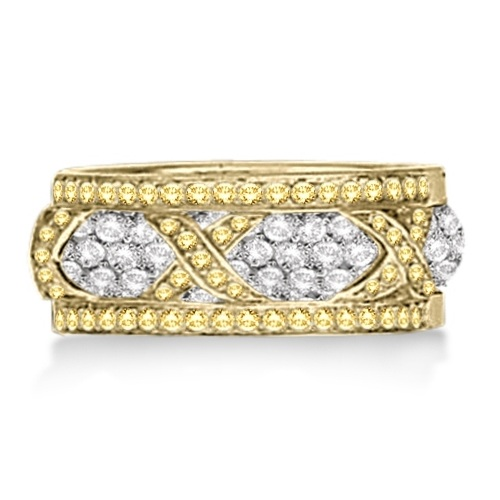 Hidalgo 3 X Micro Pave Yellow Diamond Ring Jacket 18k Gold (0.45ct)