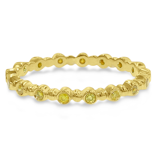 Hidalgo Bezel Set Yellow Diamond Bead Band in 18k Yellow Gold (0.17ct)