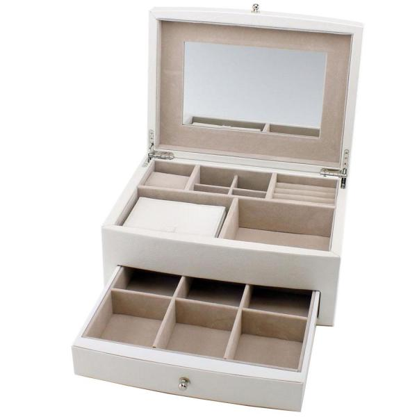 Jewelry Box White Leather Multiple Compartments w/ Travel Case