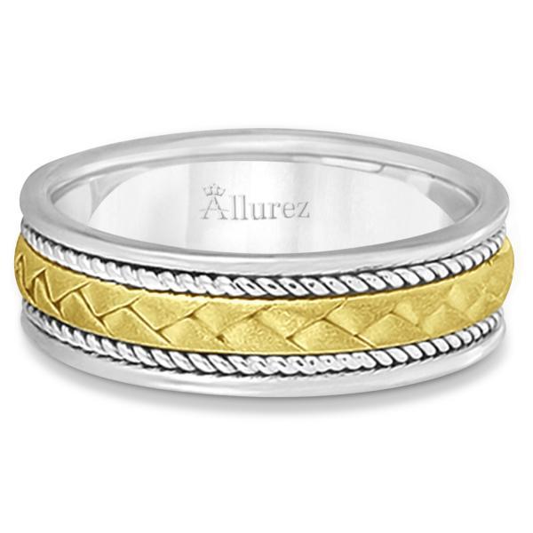 Men's Matt Finish Handwoven Wedding Ring 14k Two-Tone Gold (7mm)