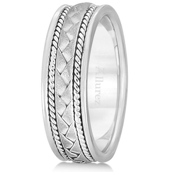 Men's Matt Finish Braided Handmade Wedding Ring 14k White Gold (7mm)