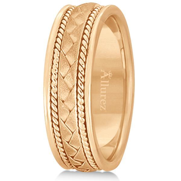 Men's Matt Finish Handmade Braided Wedding Band 18k Rose Gold (7mm)