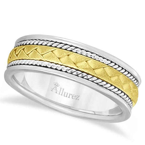 Men's Matt Finish Handwoven Wedding Band 18k Two-Tone Gold (7mm)