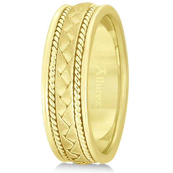 Men's Matt Finish Handmade Braided Wedding Band 18k Yellow Gold (7mm)
