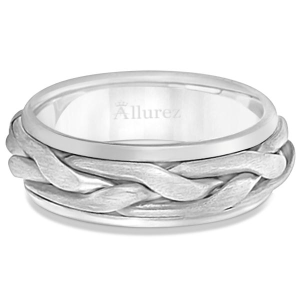 Men's Handwoven Braided Wide Band Wedding Ring 14k White Gold (8.5mm)