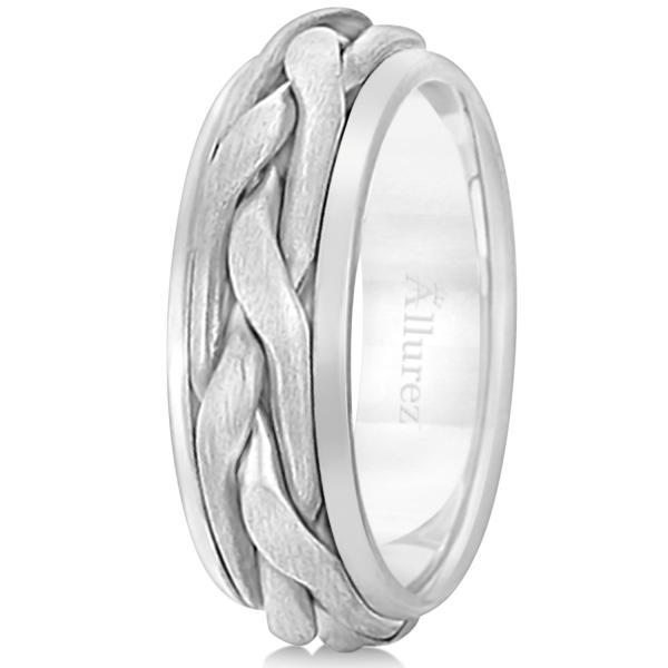 Men's Handwoven Braided Wide Band Wedding Ring 18k White Gold (8.5mm)