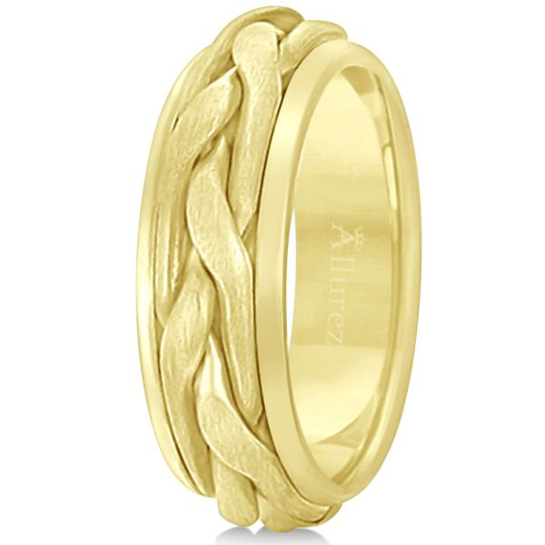 Men's Handwoven Braided Wide Band Wedding Ring 18k Yellow Gold (8.5mm)