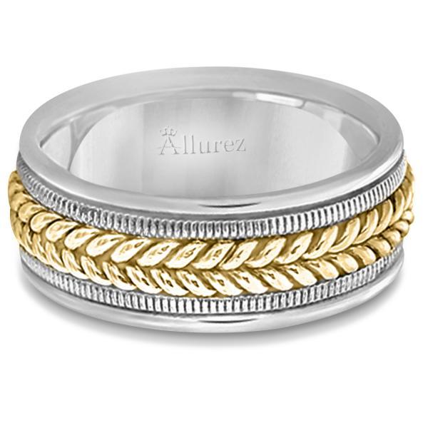 Woven Milgrain Edge Wedding Ring For Men 14k Two-Tone Gold (8mm)