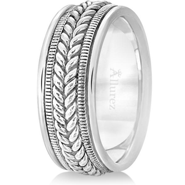 Woven Milgrain Edge Wedding Ring For Men14k White Gold (8mm)