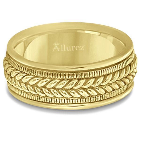 Woven Milgrain Edge Wedding Ring For Men 14k Yellow Gold (8mm)