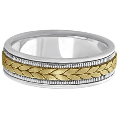 Men's Satin Finish Rope Handwoven Wedding Ring 14k Two-Tone Gold (6mm)