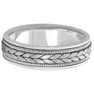 Men's Satin Finish Rope Handwoven Wedding Ring 14k White Gold (6mm)