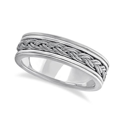 Men's Hand Braided Woven Wedding Ring 14k White Gold (6mm)